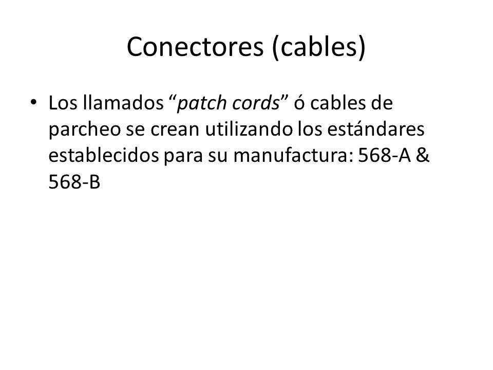 Conectores (cables) Los llamados patch cords ó cables de parcheo se crean utilizando los estándares establecidos para su manufactura: 568-A & 568-B.