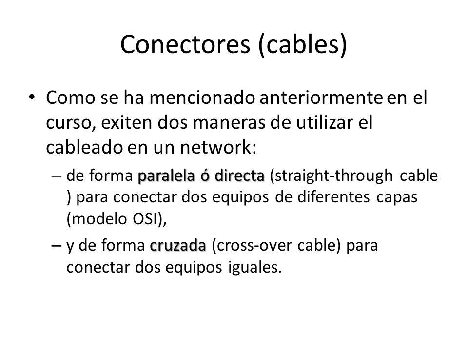 Conectores (cables) Como se ha mencionado anteriormente en el curso, exiten dos maneras de utilizar el cableado en un network: