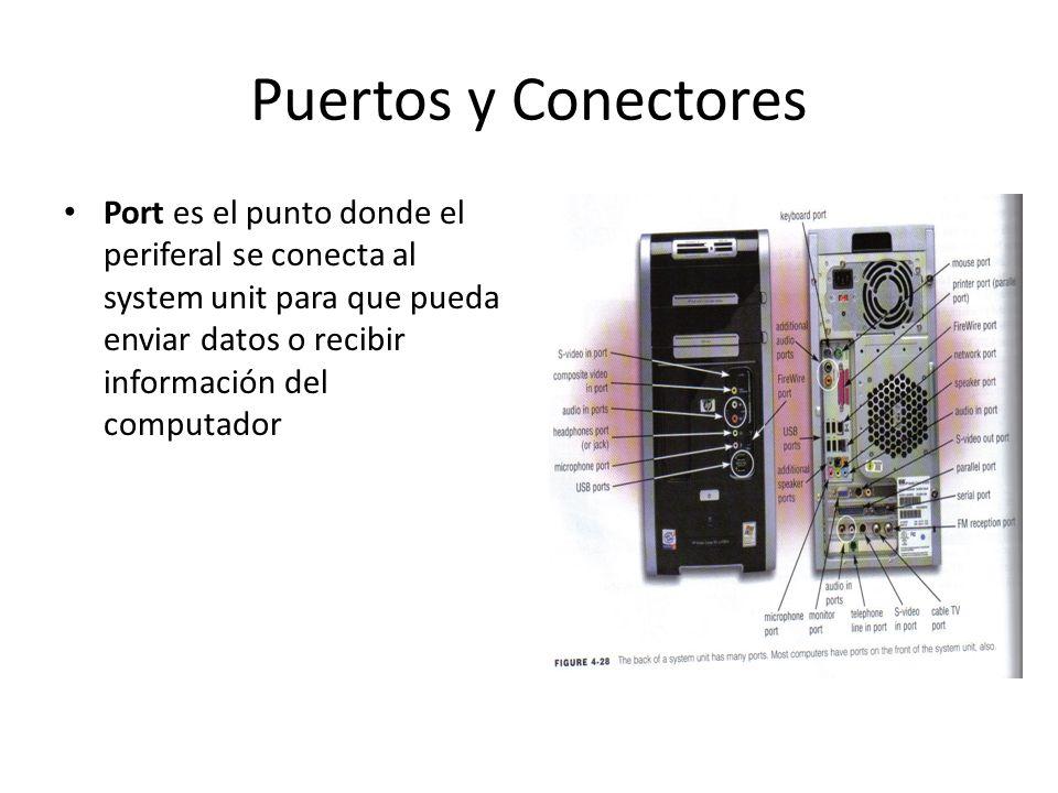 Puertos y Conectores Port es el punto donde el periferal se conecta al system unit para que pueda enviar datos o recibir información del computador.