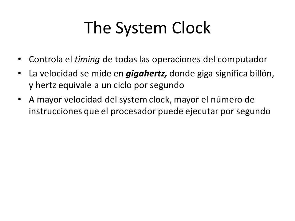 The System Clock Controla el timing de todas las operaciones del computador.