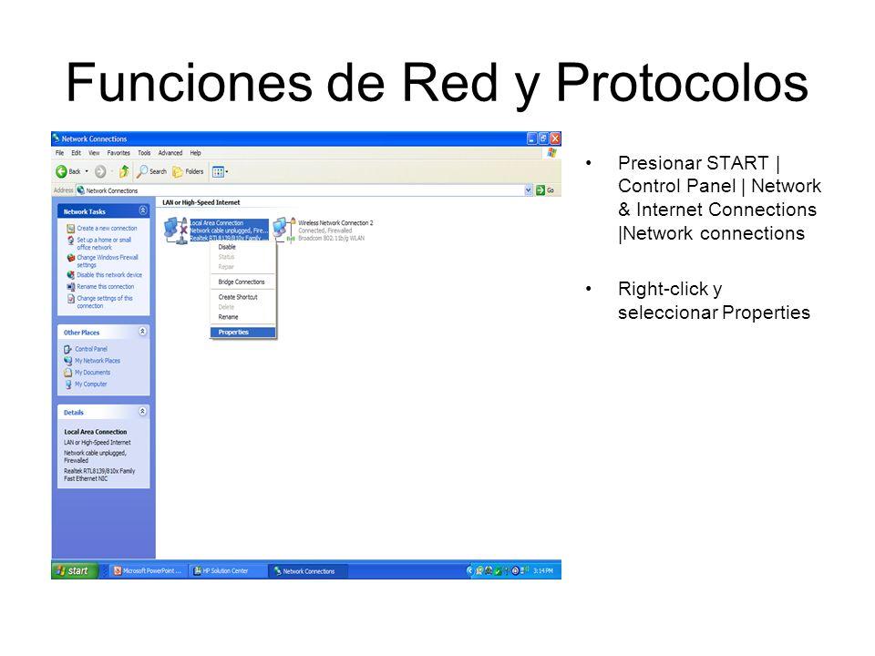 Funciones de Red y Protocolos