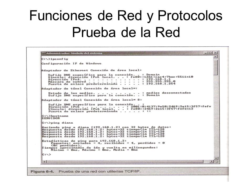 Funciones de Red y Protocolos Prueba de la Red