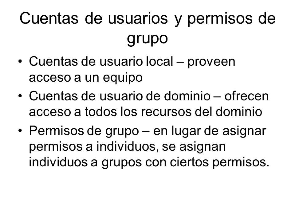 Cuentas de usuarios y permisos de grupo