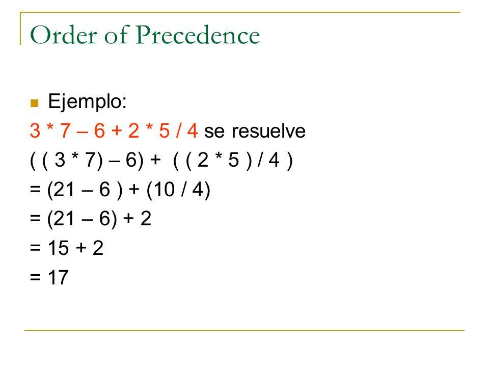 Order of Precedence Ejemplo: 3 * 7 – 6 + 2 * 5 / 4 se resuelve