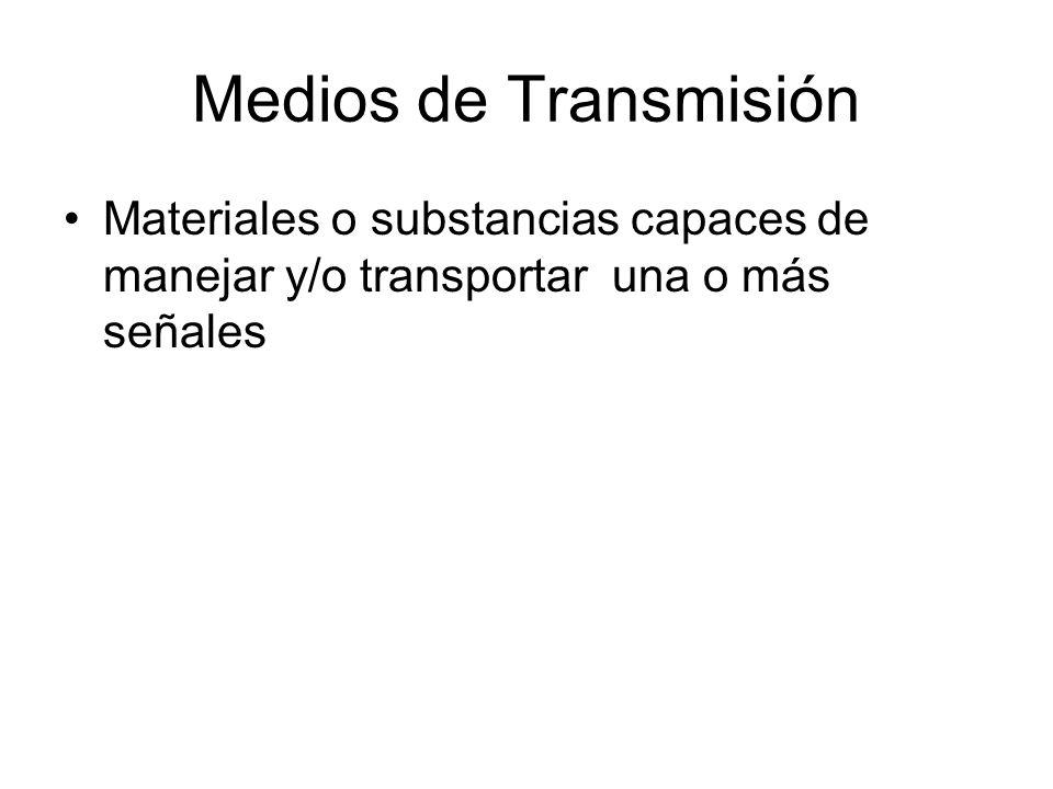 Medios de Transmisión Materiales o substancias capaces de manejar y/o transportar una o más señales.