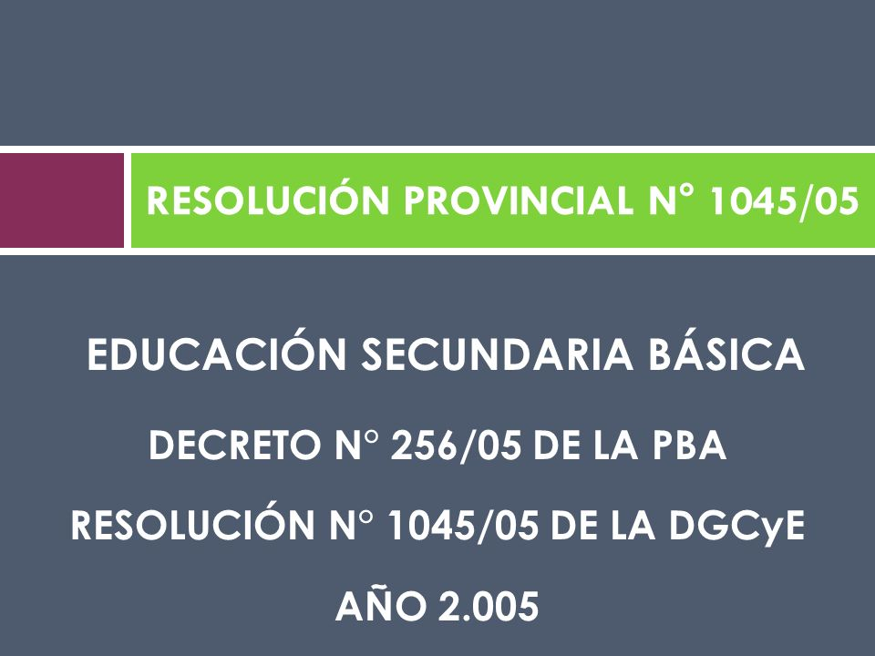 RESOLUCIÓN PROVINCIAL N° 1045/05