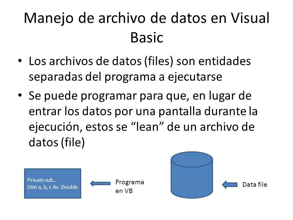 Manejo de archivo de datos en Visual Basic