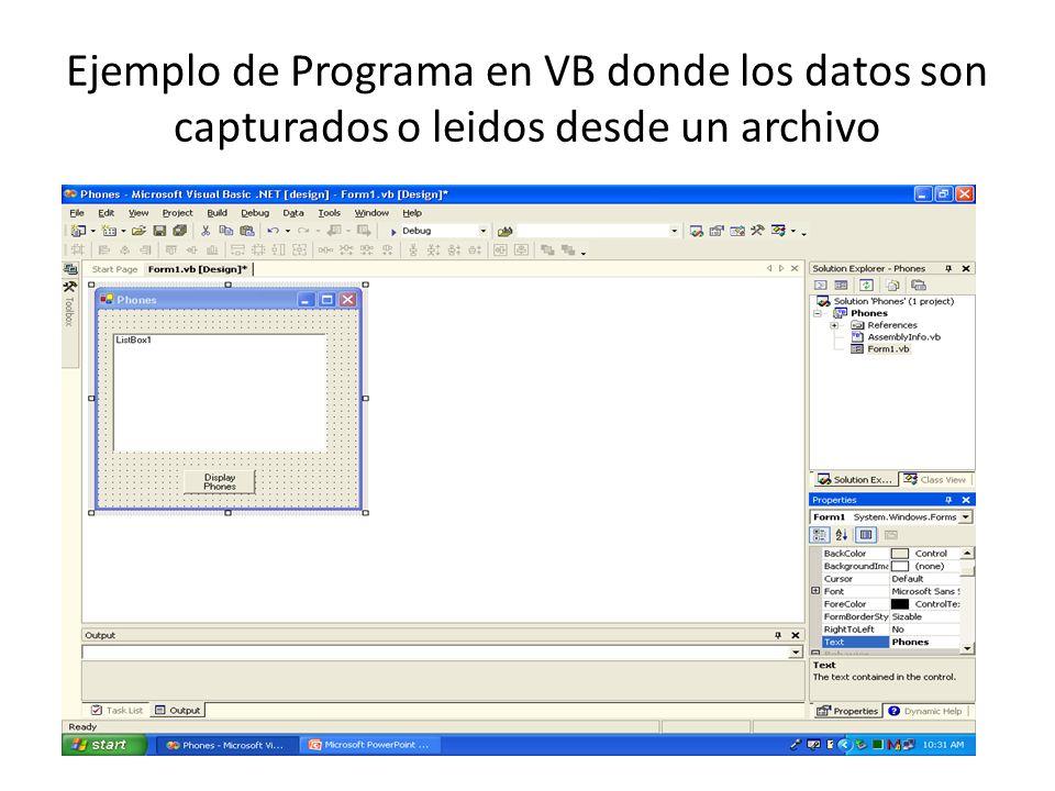Ejemplo de Programa en VB donde los datos son capturados o leidos desde un archivo