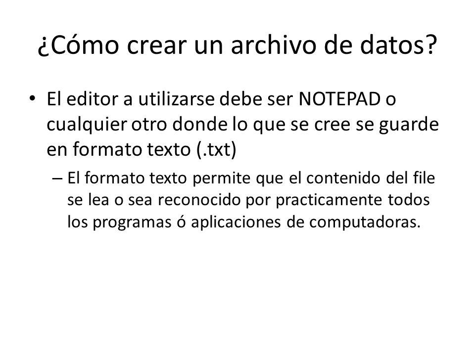 ¿Cómo crear un archivo de datos