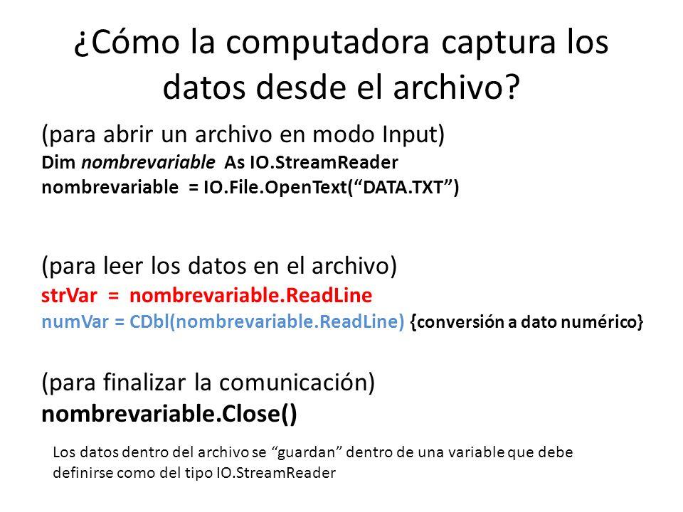 ¿Cómo la computadora captura los datos desde el archivo