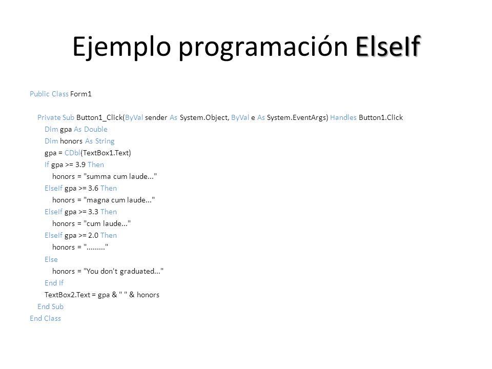 Ejemplo programación ElseIf