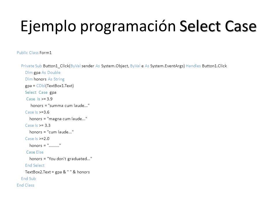 Ejemplo programación Select Case