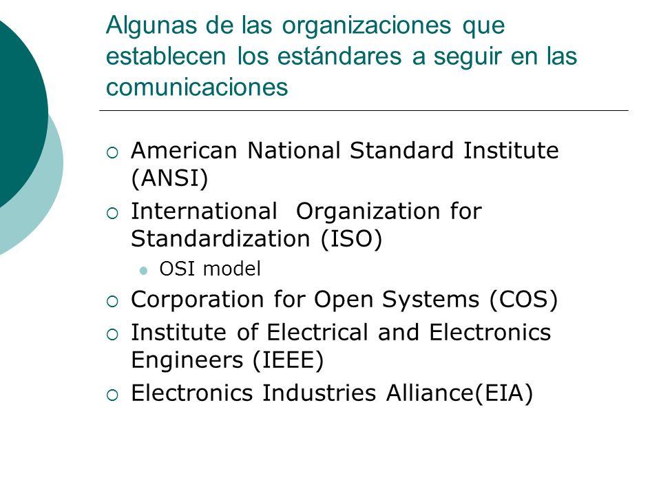 Algunas de las organizaciones que establecen los estándares a seguir en las comunicaciones