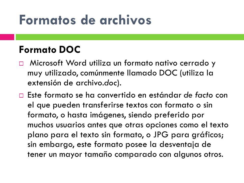 Formatos de archivos Formato DOC