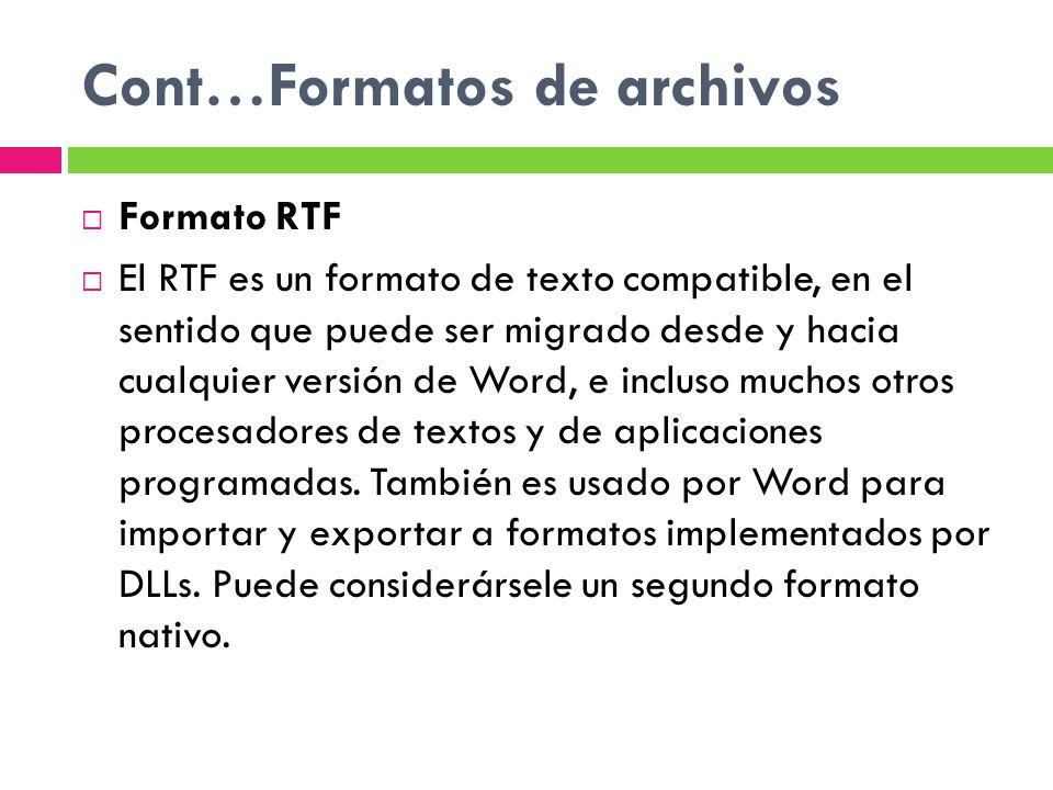 Cont…Formatos de archivos