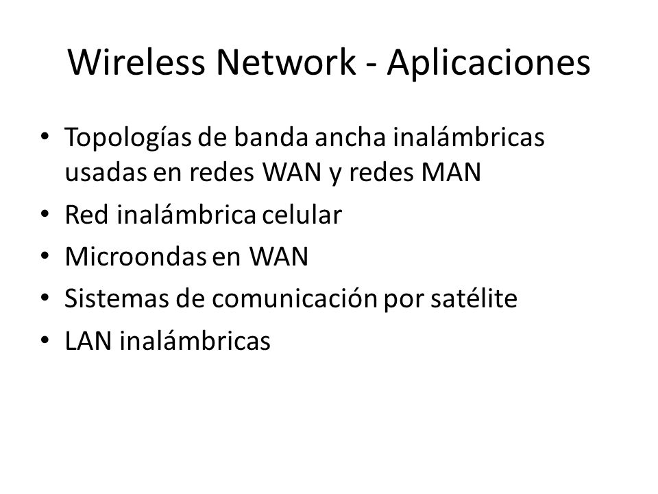 Wireless Network - Aplicaciones