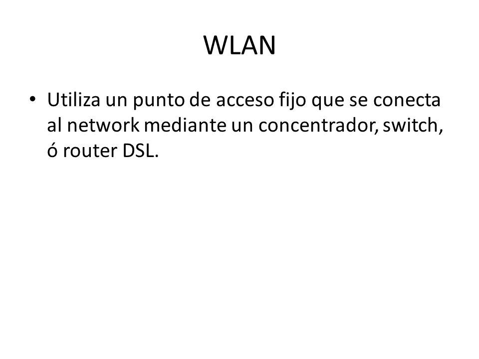 WLAN Utiliza un punto de acceso fijo que se conecta al network mediante un concentrador, switch, ó router DSL.