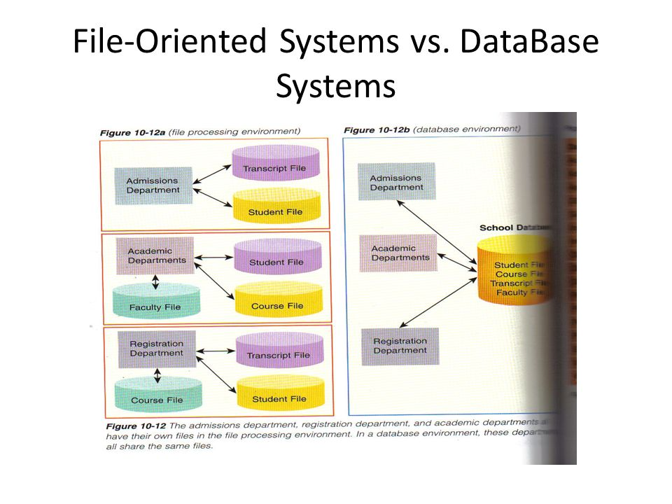 File-Oriented Systems vs. DataBase Systems