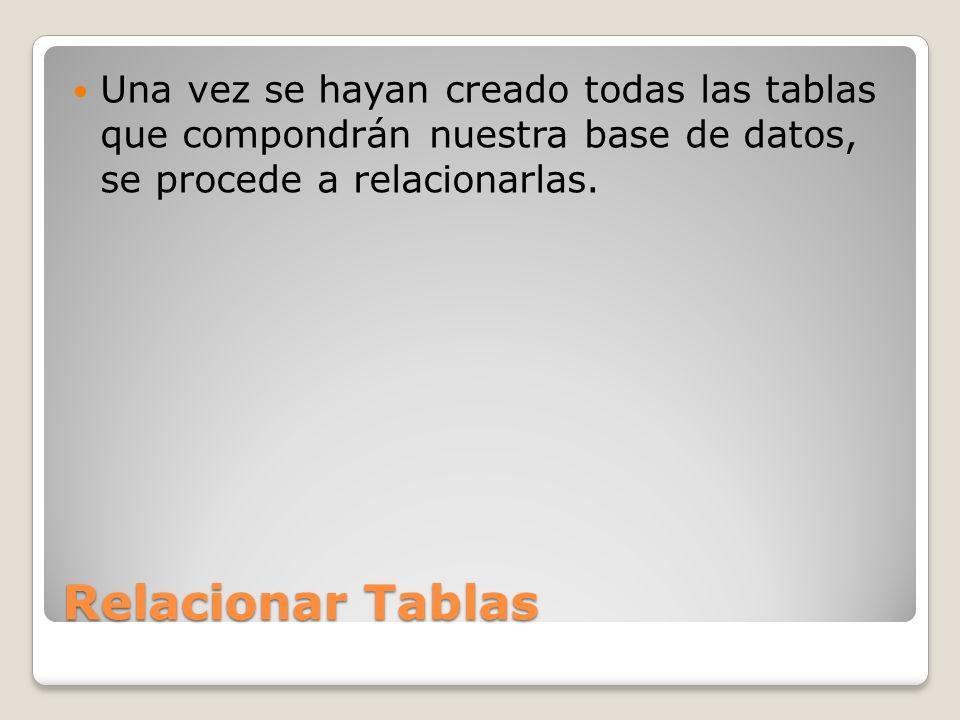 Una vez se hayan creado todas las tablas que compondrán nuestra base de datos, se procede a relacionarlas.