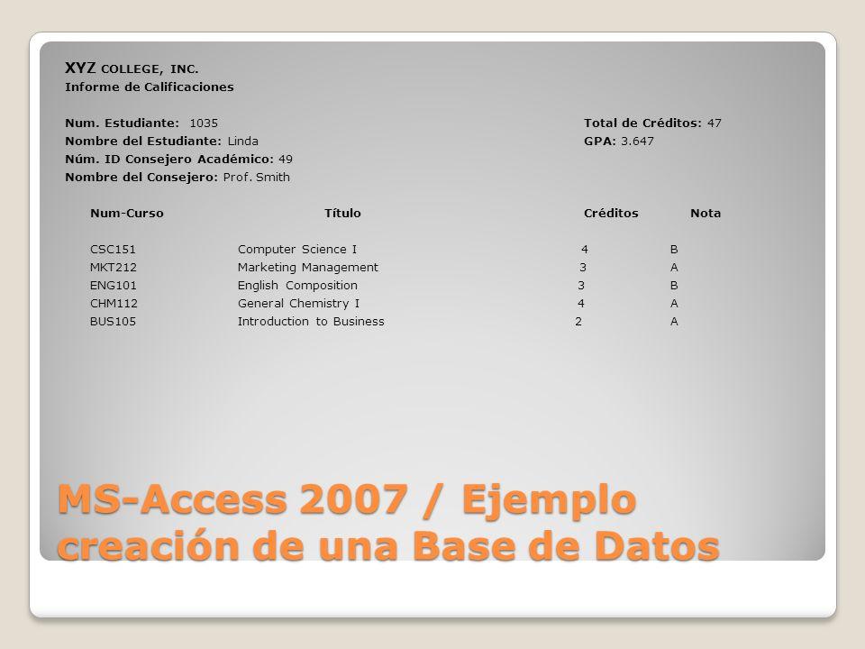 MS-Access 2007 / Ejemplo creación de una Base de Datos