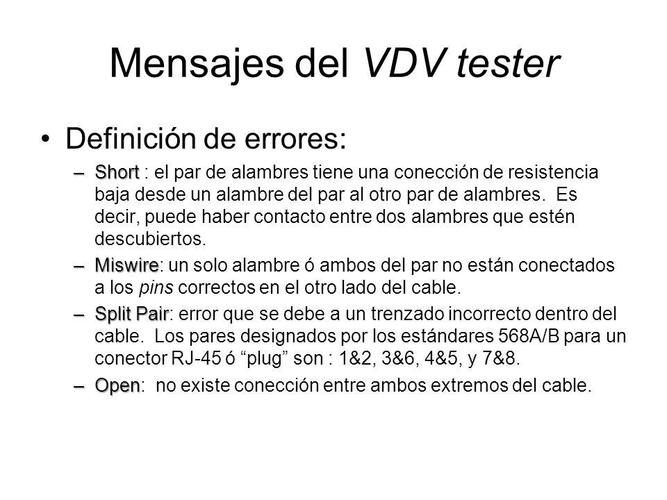 Mensajes del VDV tester