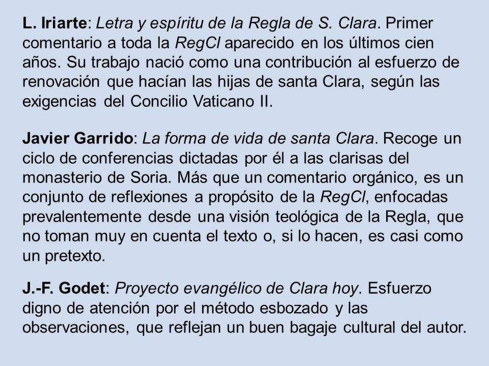 L. Iriarte: Letra y espíritu de la Regla de S. Clara