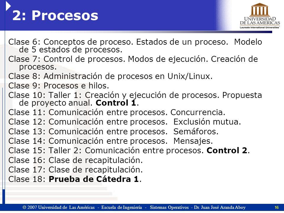 2: Procesos Clase 6: Conceptos de proceso. Estados de un proceso. Modelo de 5 estados de procesos.