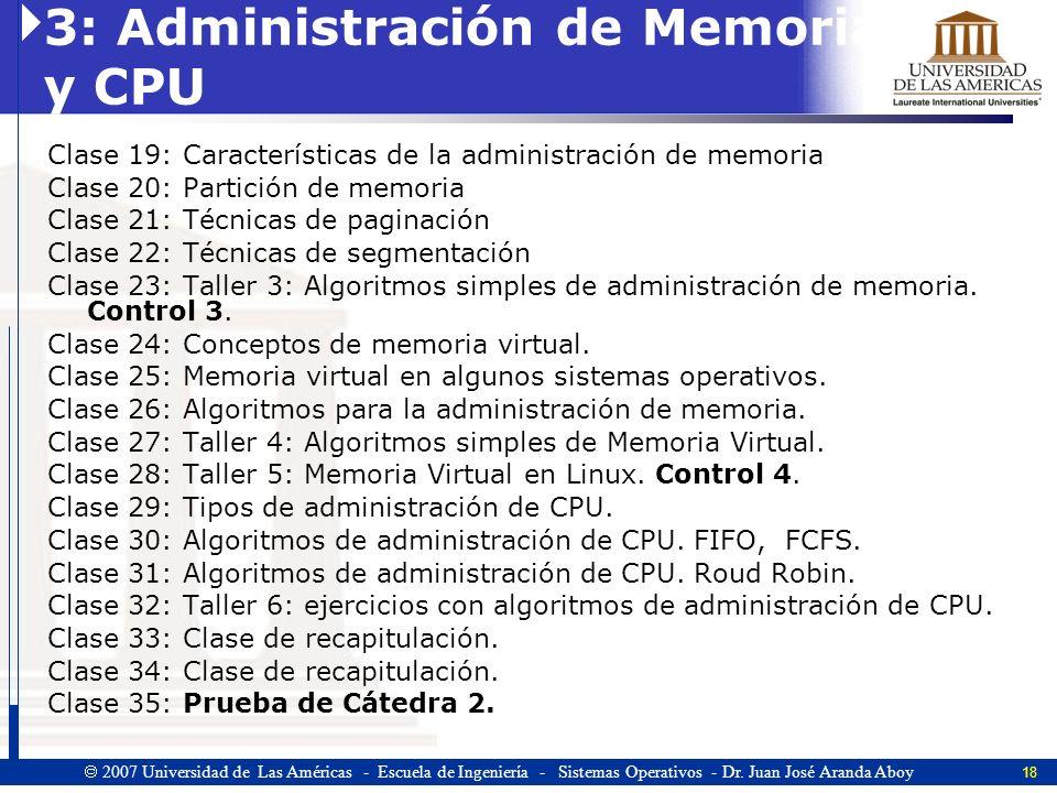 3: Administración de Memoria y CPU