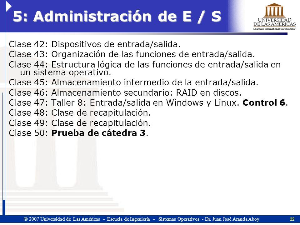 5: Administración de E / S