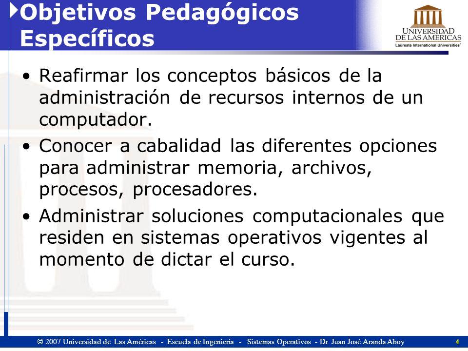 Objetivos Pedagógicos Específicos