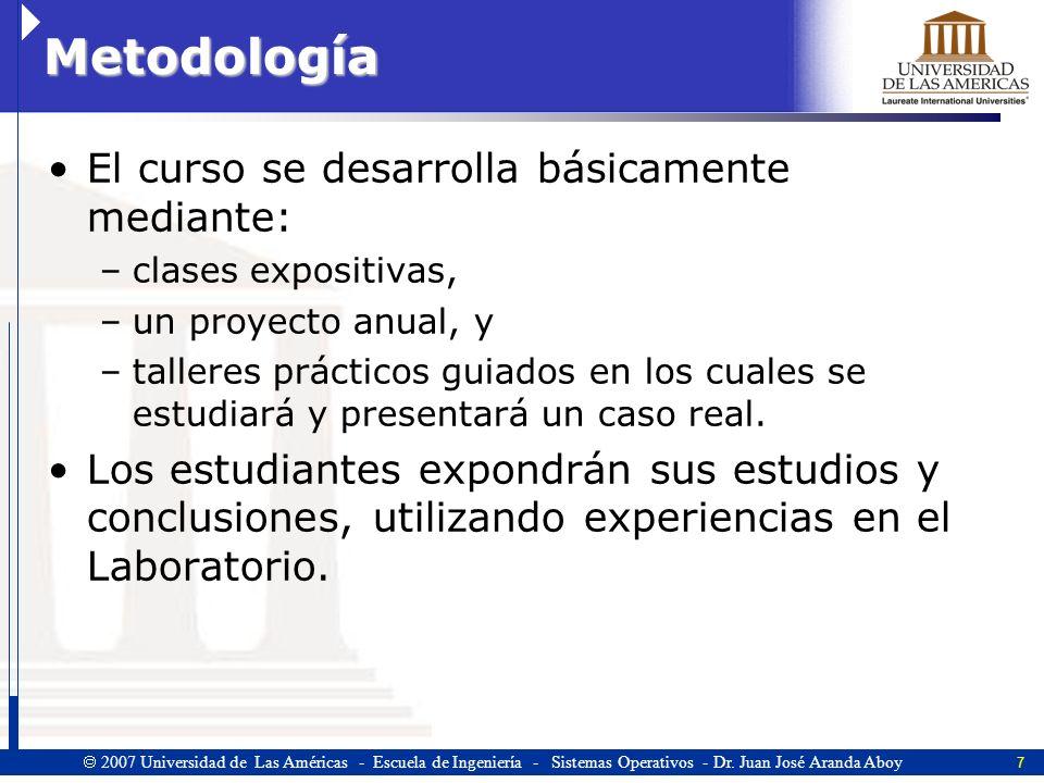 Metodología El curso se desarrolla básicamente mediante: