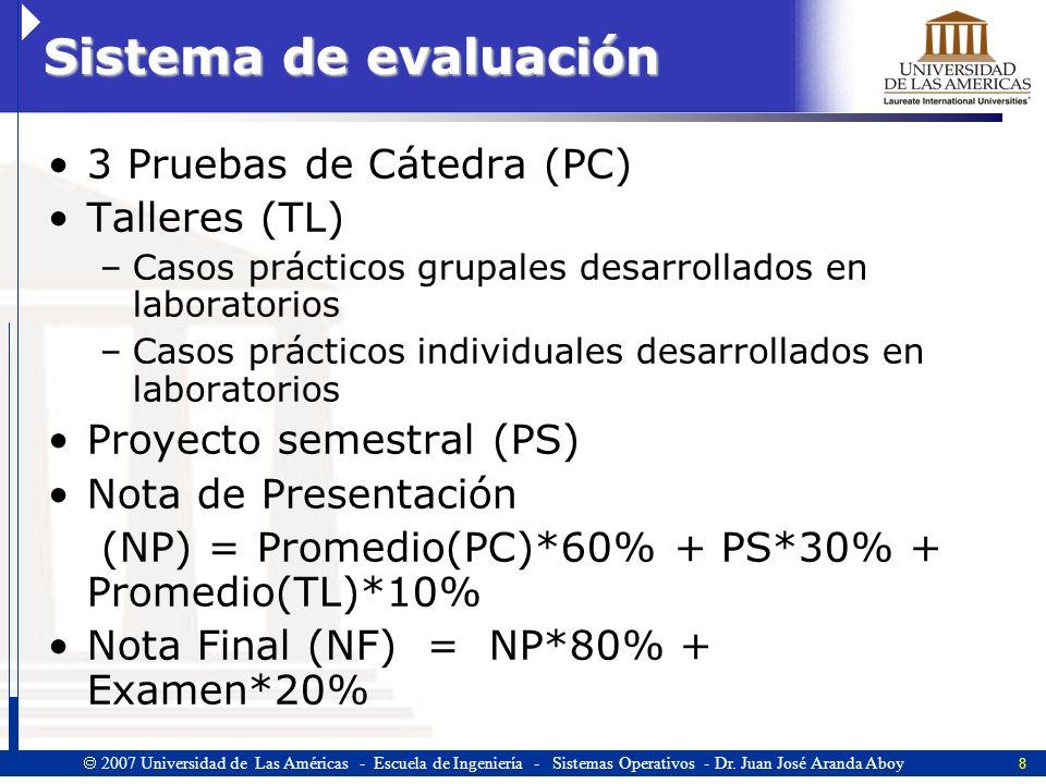 Sistema de evaluación 3 Pruebas de Cátedra (PC) Talleres (TL)