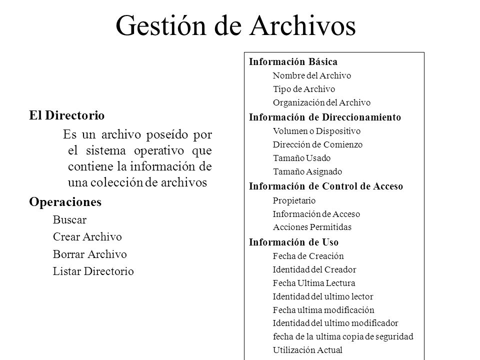 Gestión de Archivos El Directorio