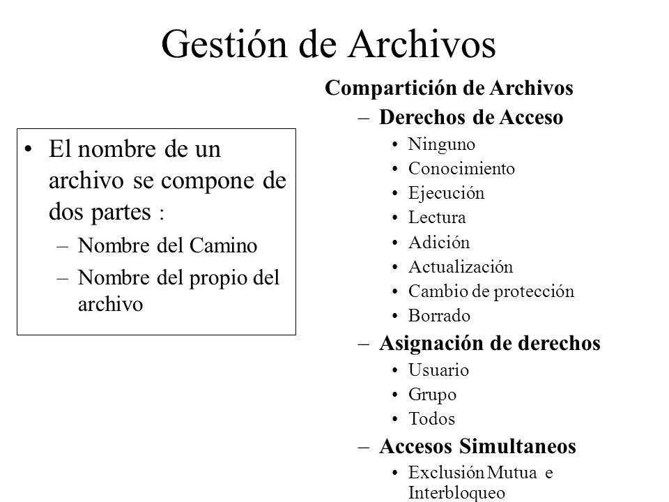 Gestión de Archivos El nombre de un archivo se compone de dos partes :