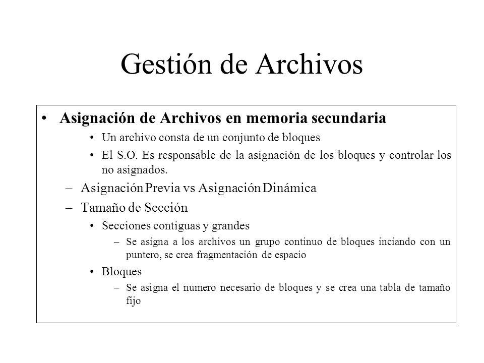 Gestión de Archivos Asignación de Archivos en memoria secundaria
