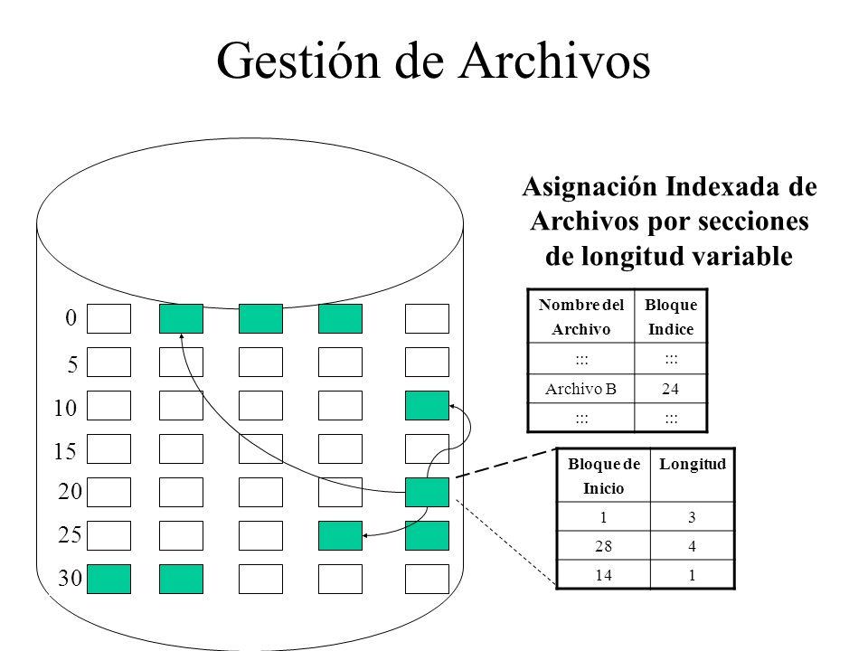 Asignación Indexada de Archivos por secciones de longitud variable