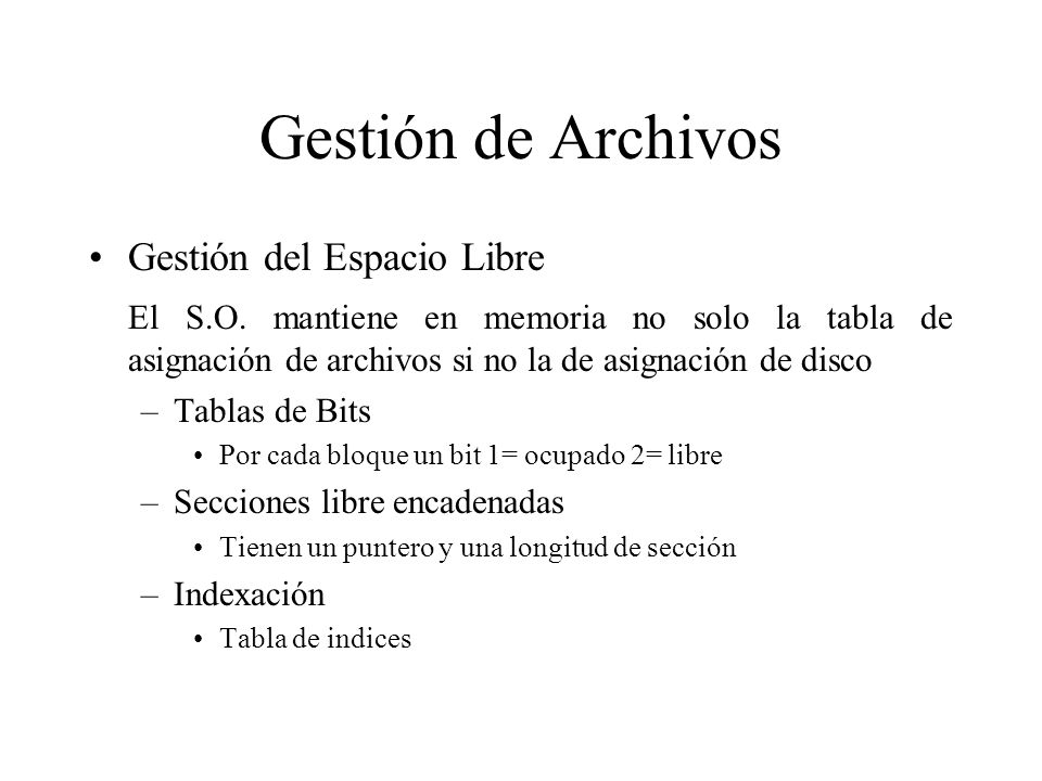 Gestión de Archivos Gestión del Espacio Libre
