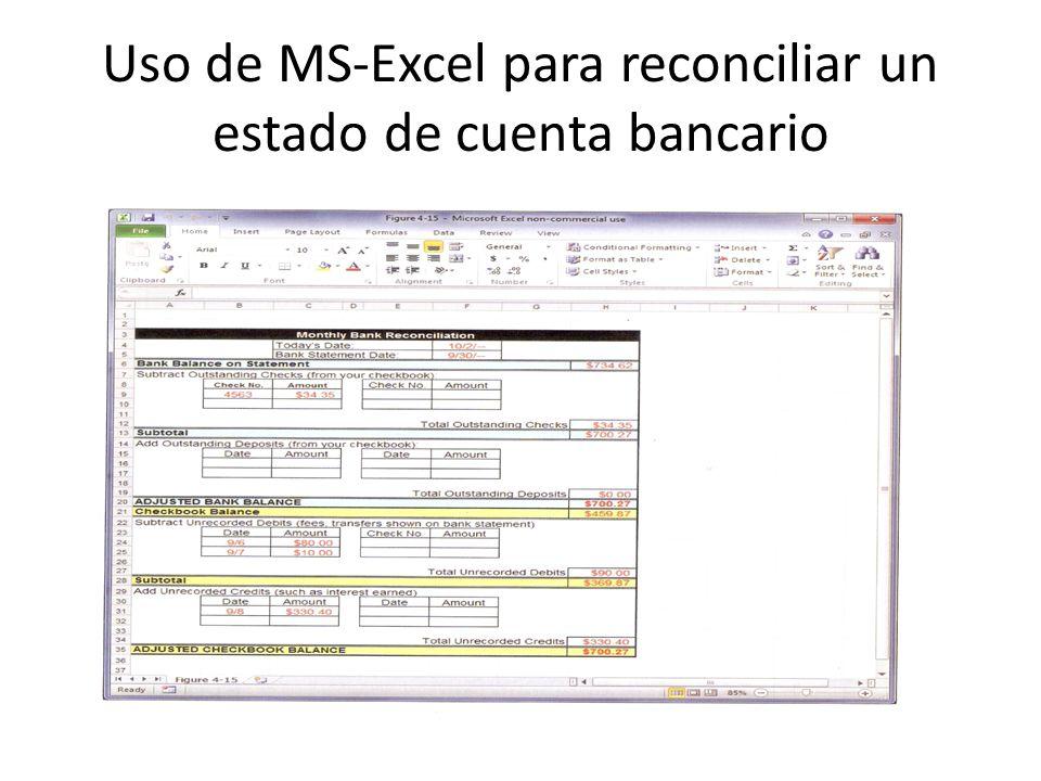 Uso de MS-Excel para reconciliar un estado de cuenta bancario