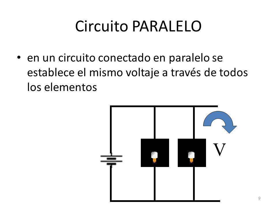 Circuito PARALELO en un circuito conectado en paralelo se establece el mismo voltaje a través de todos los elementos.