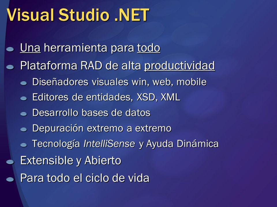 Visual Studio .NET Una herramienta para todo