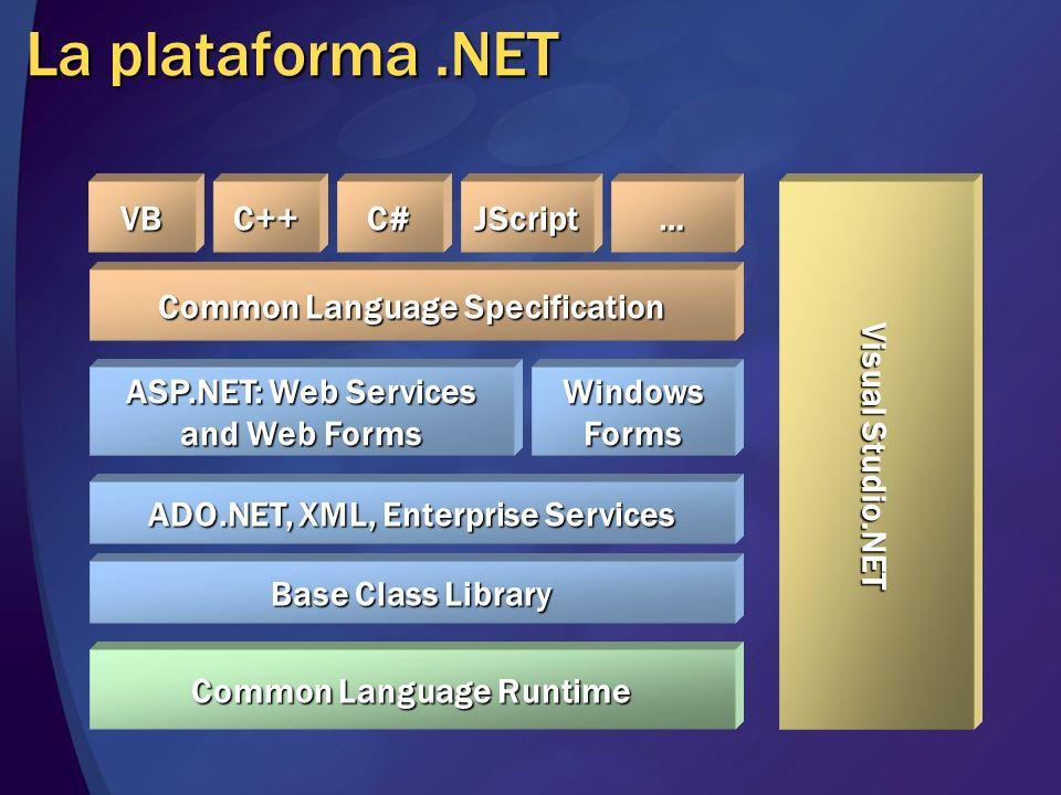 La plataforma .NET VB C++ C# JScript … Visual Studio.NET