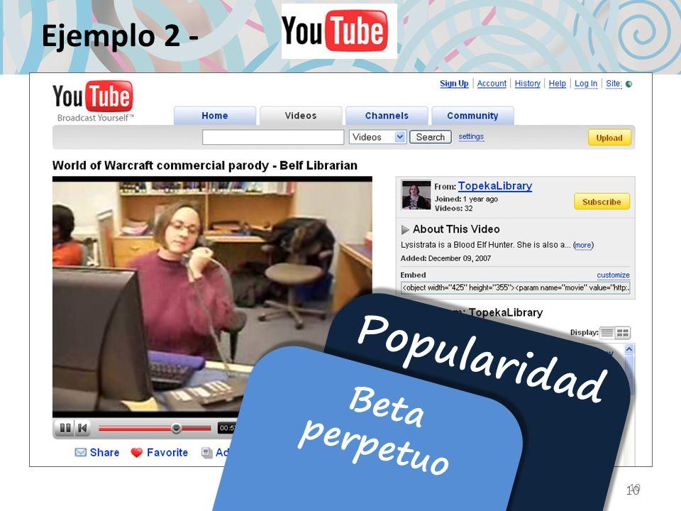 Ejemplo 2 - Popularidad Beta perpetuo 10