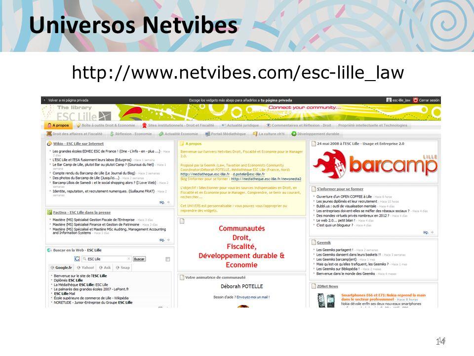 Universos Netvibes http://www.netvibes.com/esc-lille_law 14