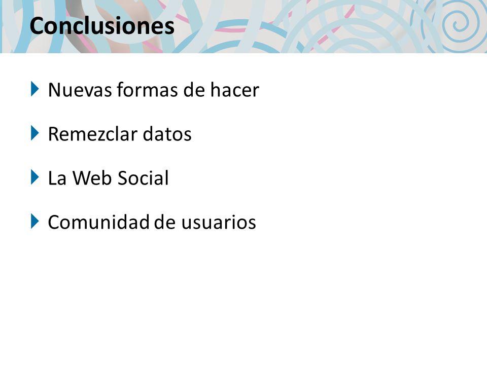 Conclusiones Nuevas formas de hacer Remezclar datos La Web Social