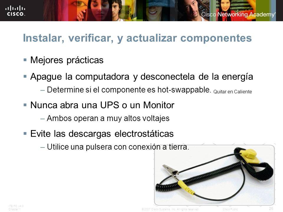 Instalar, verificar, y actualizar componentes