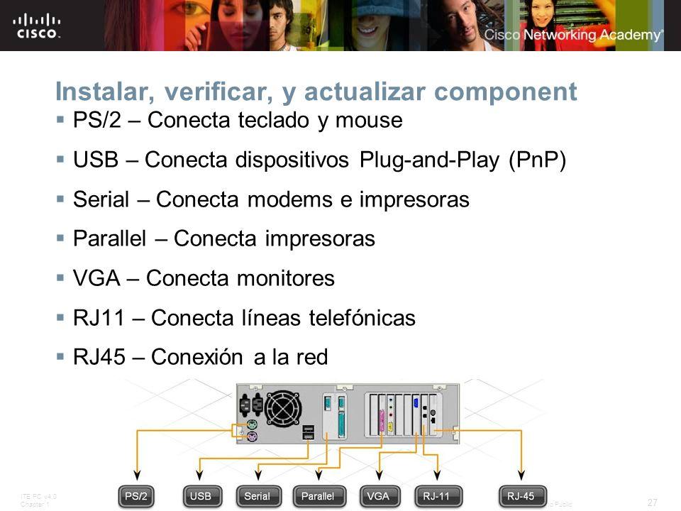 Instalar, verificar, y actualizar component