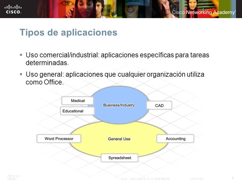 Tipos de aplicaciones Uso comercial/industrial: aplicaciones específicas para tareas determinadas.