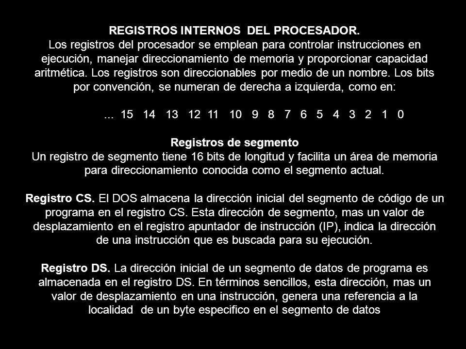 REGISTROS INTERNOS DEL PROCESADOR.