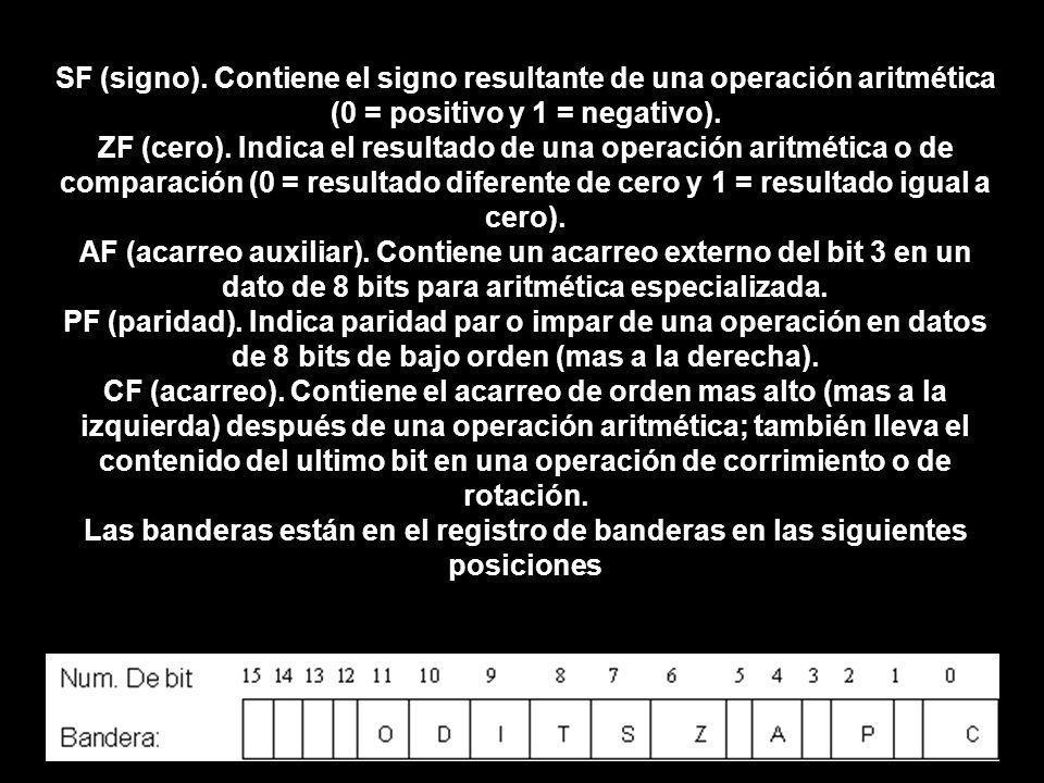 SF (signo). Contiene el signo resultante de una operación aritmética (0 = positivo y 1 = negativo).
