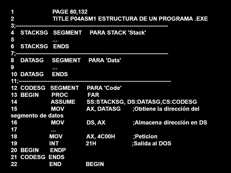 1 PAGE 60,132 2 TITLE P04ASM1 ESTRUCTURA DE UN PROGRAMA